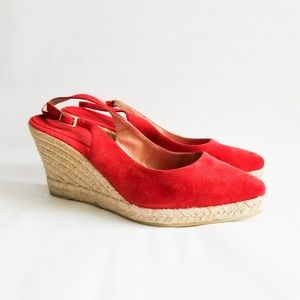 Andre Assous Espadrille Wedge Sandals Red Suede 10